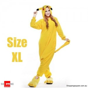 Pokemon Adult Anime Costume Pajamas for Sleeping Cosplay Party Go - Pikachu Size XL