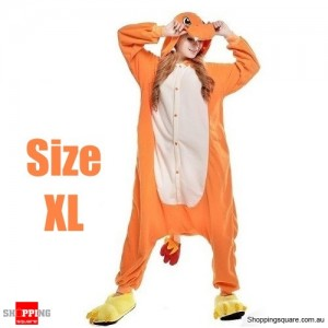 Pokemon Adult Anime Costume Pajamas for Sleeping Cosplay Party Go - Charmander Size XL