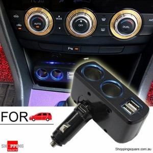 90 Degrees Rotate Auto Fast 2 Socket Car Cigarette Charger Splitter Lighter with Dual USB