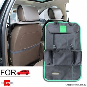 Thick Car Seat Back Travel Storage Bag Holder Tidy Organizer for iPad Food Green Colour