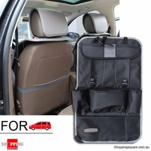 Thick Car Seat Back Travel Storage Bag Holder Tidy Organizer for iPad Food Black Colour