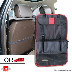 Premium Quality Thick Car Seat Back Tidy Organizer Holder Travel Storage Bag Red Colour