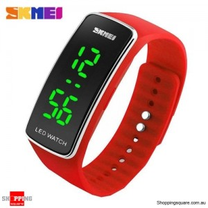 SKMEI 1119 Men's Women's LED Digital Silicone Band Wrist Watch Red Colour