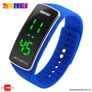 SKMEI 1119 Men's Women's LED Digital Silicone Band Wrist Watch Blue Colour
