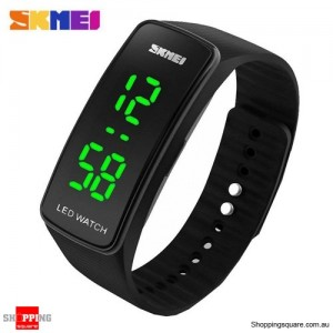 SKMEI 1119 Men's Women's LED Digital Silicone Band Wrist Watch Black Colour