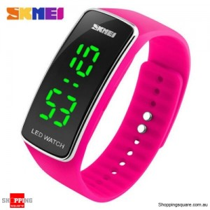 SKMEI 1119 Men's Women's LED Digital Silicone Band Wrist Watch Rose Red Colour