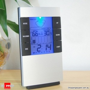 Indoor Digital LCD Hygrometer Thermometer Meter Clock Alarm for Temperature Humidity Display