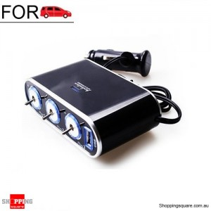 3 Way Triple Car Cigarette Lighter Socket Splitter Charger DC 12V/24V with USB Port
