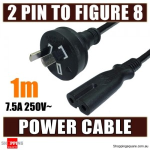1M Mains Power Lead Cord Cable AU 2-Pin to Figure 8 Plug 250V 7.5A SAA