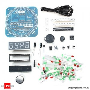 DIY LED Rotation Electronic Clock Kit DS1302 51 with SCM Learning Board Alarm Temperature Function