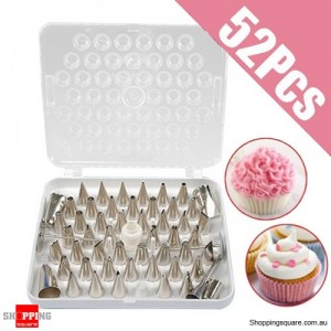 52Pcs Stainless Steel Cake Pastry Decorating Nozzles Craft Tip Set