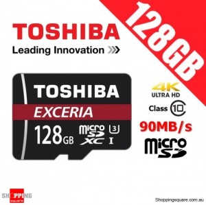 Toshiba Exceria 128GB microSD microSDXC Memory Card 90MB/s U3 4K FHD