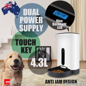 4.3L Automatic Digital Pet Feeder Food Dispenser for Cat Dog