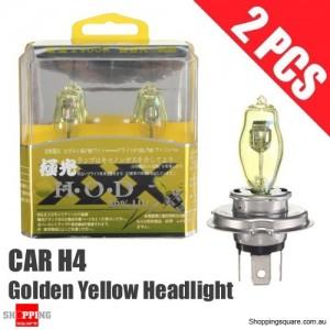 1 Pair of HOD H4 Headlight Light Bulbs for Car 100W 3530K 12V Xenon Golden Yellow