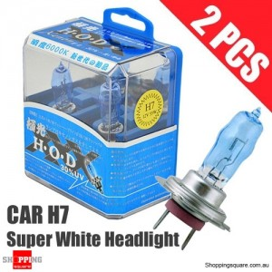 1 Pair of HOD H7 Headlight Xenon Light Bulbs for Car 100W 5350K 12V Super White