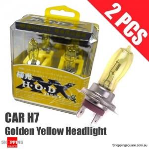 1 Pair of HOD H7 Headlight Xenon Light Bulbs for Car 100W 3530K 12V Golden Yellow