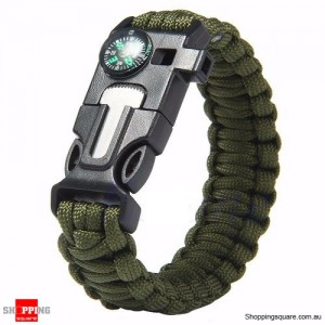 5 in1 Survival Paracord Rope Bracelet Army Green Colour
