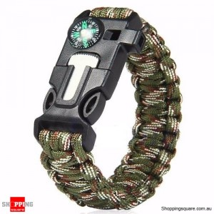5 in1 Survival Paracord Rope Bracelet Green&Camouflage Colour