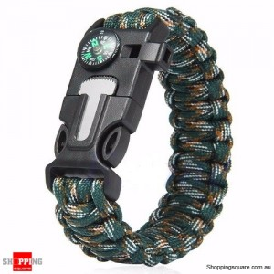 5 in1 Survival Paracord Rope Bracelet Blue&Camouflage Colour