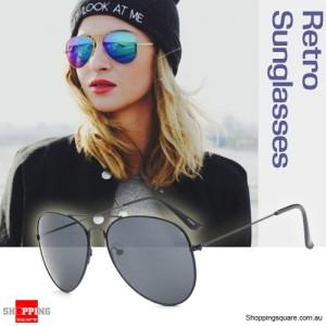 Retro Classic Aviator 80s Pilot Sunnies Sunglasses Black Metal frame/Grey Mirror Lens