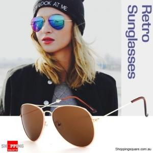 Retro Classic Aviator 80s Pilot Sunnies Sunglasses Golden Metal frame/Brown Mirror Lens