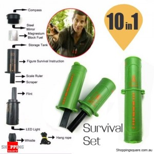 10 in 1 Survival Tool with Emergency Compass Flint & Fire Starter for Camping Hiking Green Colour