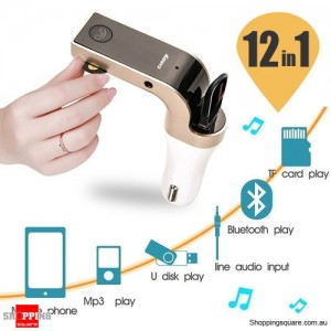 Bluetooth Car Kit with MP3 Player FM Transmitter Micro SD Port & USB Charger Hands-Free Calling