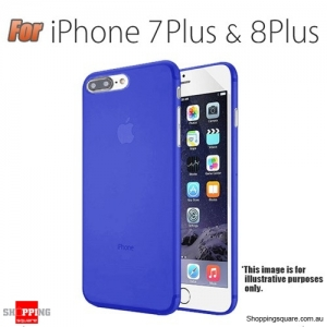 Slim TPU Soft Gel Transparent Case Cover for iPhone 7 Plus Blue Colour