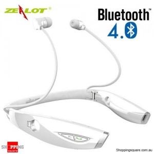 Zealot H1 Wireless Bluetooth 4.0 Sport Anti-sweat Stereo Earphone Headphone With Voice Control White Colour