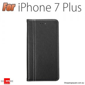 PU Leather Wallet Case With Kickstand Card Slots For Apple iPhone 7 Plus 5.5 Inch Black Colour