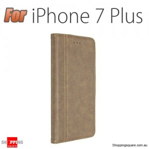 PU Leather Wallet Case With Kickstand Card Slots For Apple iPhone 7 Plus 5.5 Inch Brown Colour