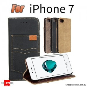 PU Leather Wallet Case With Kickstand Card Slots For Apple iPhone 7 4.7 Inch Black Colour