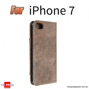PU Leather Wallet Case With Kickstand Card Slots For Apple iPhone 7 4.7 Inch Brown Colour