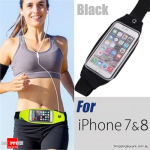 Waterproof Sports Waist Bag with for iPhone 8,7,6 and SmartPhone - Black Colour