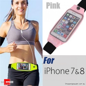Waterproof Sports Waist Bag with for iPhone 8,7,6 and SmartPhone - Pink Colour