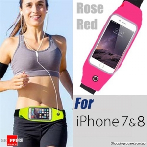 Waterproof Sports Waist Bag with for iPhone 8,7,6 and SmartPhone - Rose Red Colour