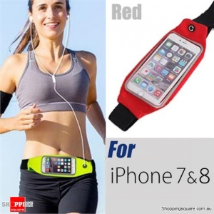 Waterproof Sports Waist Bag with for iPhone 8,7,6 - Red