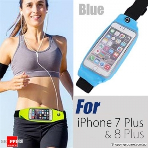 Rain Waterproof Outdoor Sports Running Fitness GYM Waist Bag with Adjustable Belt for iPhone 7 Plus Blue Colour