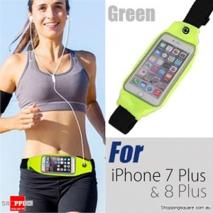 Rain Waterproof Outdoor Sports Running Fitness GYM Waist Bag with Adjustable Belt for iPhone 7 Plus & 8 Plus Green Colour