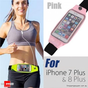 Rain Waterproof Outdoor Sports Running Fitness GYM Waist Bag with Adjustable Belt for iPhone 7 Plus & 8 Plus Pink Colour