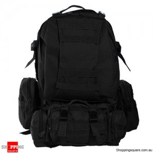 4 In 1 Molle Tactical Military Style Backpack Bag for Camping Outdoor 600D Nylon Black Colour
