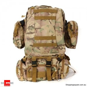 4 In 1 Molle Tactical Military Style Backpack Bag for Camping Outdoor 600D Nylon CP Camouflage