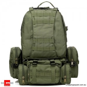 4 In 1 Molle Tactical Military Style Backpack Bag for Camping Outdoor 600D Nylon Army Green Colour