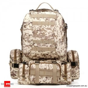 4 In 1 Molle Tactical Military Style Backpack Bag for Camping Outdoor 600D Nylon Digital Desert Camouflage