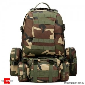 4 In 1 Molle Tactical Military Style Backpack Bag for Camping Outdoor 600D Nylon Woodland Camouflage