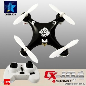 Cheerson CX10A 2.4G 4CH 6 Axis RC Headless Mode Quadcopter RTF Right Hand Throttle Black Colour