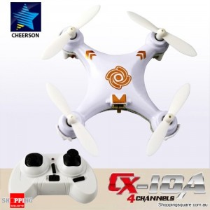 Cheerson CX10A 2.4G 4CH 6 Axis RC Headless Mode Quadcopter RTF Right Hand Throttle White Colour