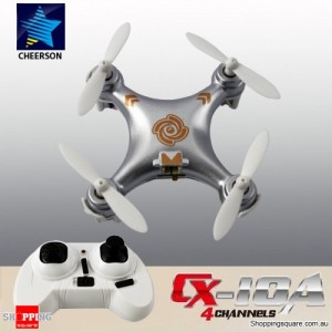 Cheerson CX10A 2.4G 4CH 6 Axis RC Headless Mode Quadcopter RTF Right Hand Throttle Silver Colour