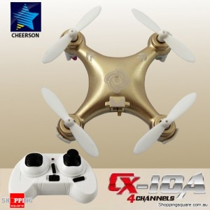 Cheerson CX10A 2.4G 4CH 6 Axis RC Headless Mode Quadcopter RTF Right Hand Throttle Gold Colour