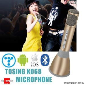 Genuine Tosing K068 Wireless Bluetooth Karaoke KTV Effects Mic Microphone Speaker for iPhone Android Gold Colour
